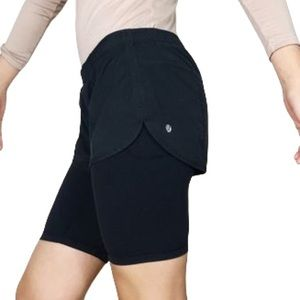 LULULEMON Two In One Double Layer Run Bike Shorts